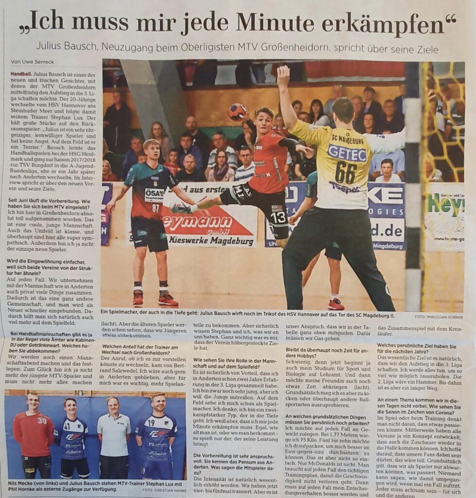 Interview mit Neuzugang Julius Bausch, geführt von Uwe Serreck, HAZ/NP.